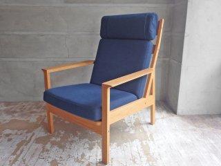 カーフ Karf トリムプラス Tolime+ ハイバックチェア High back chair ラウンジチェア ミディアムブルー オーク材 定価:13.8万円 ♪