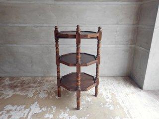 UKヴィンテージ オーク材 サイドテーブル シェルフ ナイトテーブル 8角形  ♪