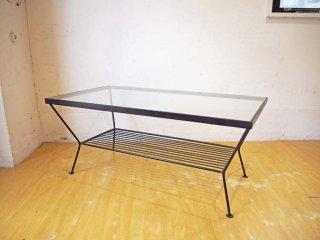 ウニコ unico エディ EDDY リビングテーブル Lサイズ ガラストップ アイアンフレーム ★