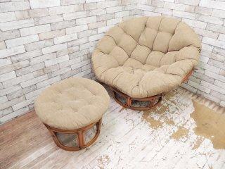 アクメファニチャー ACME Furniture ウィッカー イージーチェア Wicker Easy Chair ラタンフレーム オットマン付 ●