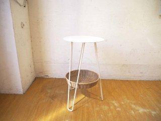 イデー IDEE ワラビー サイドテーブル WALLABY SIDE TABLE ホワイト White スチール×ラタン 美品 ★