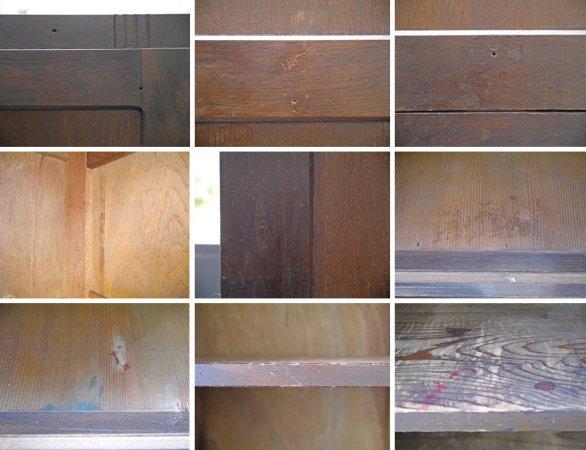 ジャパンビンテージ ガラス収納棚 水屋箪笥 食器棚 ダイヤガラス 引き戸 抽斗2杯 古家具 ■
