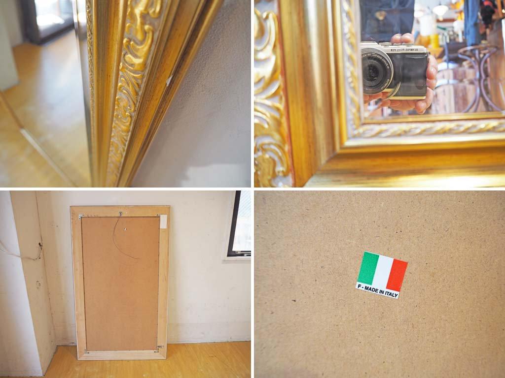 イタリア製 ヨーロピアンスタイル ウォールミラー 壁掛け鏡 立て掛け 縦横 イタリアンクラシック ロココ 鏡 ゴールド リーフモチーフ ★