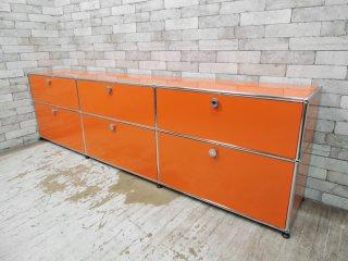 ユーエスエム モジュラーファニチャー USM Modular Furniture USMハラーシステム サイドボード 3x2 キャビネット ドロップダウンドア ピュアオレンジ ●