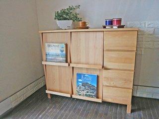 家具の里 木製本棚 ディスプレーラック アルダー材 桐材 キャビネット 収納 ◎