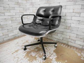 ノル Knoll ポロックチェア Pollock Chair アーム & レザーシート キャスターベース 本革 ブラック デスクチェア ミッドセンチュリー ●