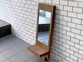 古材 ウォールミラー シェルフ 無垢材 鏡 壁掛け 木味 リメイク ■
