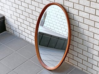 ビンテージ オーバルウォールミラー チーク材フレーム 鏡 壁掛け 北欧スタイル ■