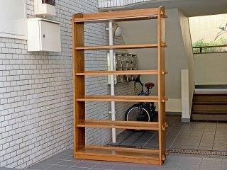 ジャパンビンテージ 70's ブックシェルフ 本棚 飾り棚 楔留め オープンラック 木味 日本家具 ■