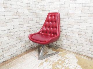 クロームクラフト CHROMECRAFT ユニコーンチェア Unicorn chair レッド ウラジミールケーガン Vladimir Kagan スタートレック V字ベース ビンテージ ●