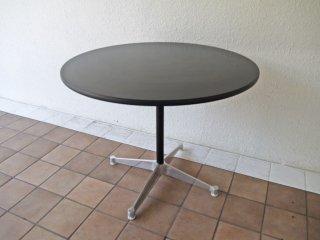 ハーマンミラー Herman Miller イームズ コントラクト ラウンド テーブル ブラック φ90cm 定価:¥104,500- U.S.A ミッドセンチュリー 状態良好 ◇