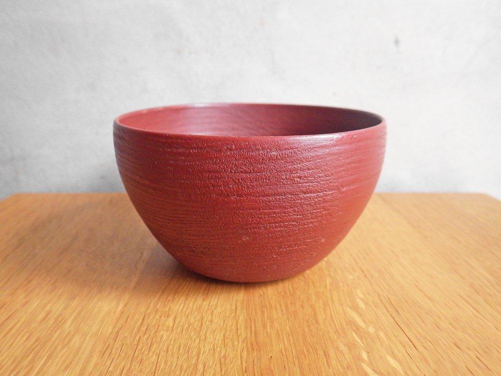 赤木明登 楡の鉢シリーズ 茶碗 4寸 赤 漆 伝統工芸 B ♪