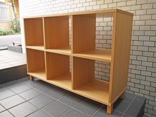 無印良品 MUJI 2段3列 タモ材 オープンシェルフ 木製ラック 飾り棚 ナチュラル シンプルデザイン■
