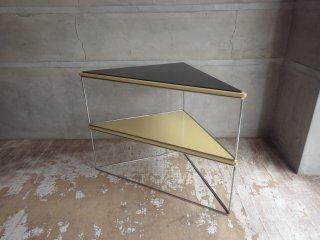 ビンテージ デルタテーブル ウッドトップ × スチールフレーム トライアングル サイドテーブル シェルフ 三角 ♪
