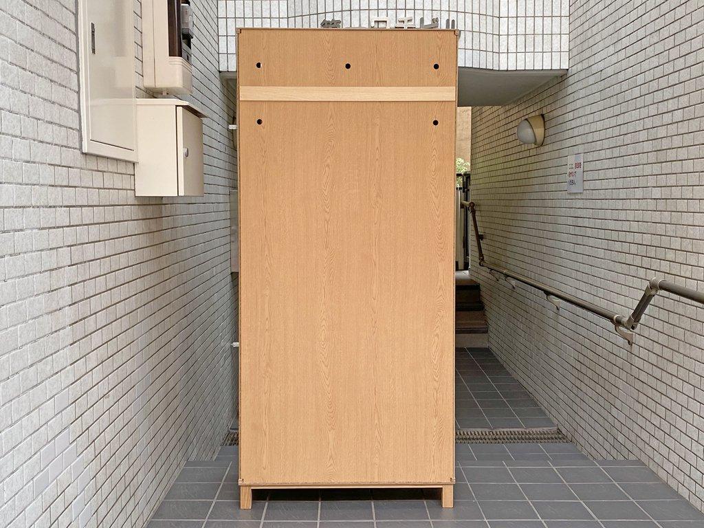無印良品 MUJI 組み合わせて使える木製収納 W80 タモ材 キャビネット カップボード ガラス扉 木製扉 ナチュラル ■