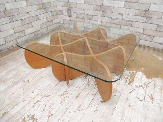 イーアンドワイ E&Y マトリックステーブル MATRIX TABLE リビングテーブル センターテーブル ナチュラルベージュ ガラス プライウッド Sサイズ ●