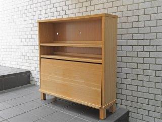 無印良品 MUJI 木製シェルフ タモ材 ロータイプ  マガジンラック付き 奥行21cm  ■