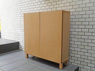 無印良品 MUJI 木製シェルフ タモ材 ロータイプ 木製扉付き 奥行21cm ■