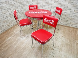 コカ・コーラ Coca Cola ダイナーテーブル & ダイナーチェア 4脚 フルセット 50sビンテージスタイル ●