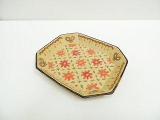 増山文 赤花の八角皿 プレート 現代作家 B ●