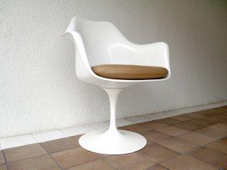 ノルスタジオ Knoll Studio ノール エーロ・サーリネン Eero Saarinen チューリップ アームチェア 回転式 白ベース 本革シート 定価¥314,600以上 A ◇