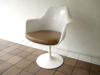 ノルスタジオ Knoll Studio ノール エーロ・サーリネン Eero Saarinen チューリップ アームチェア 回転式 白ベース 本革シート 定価¥314,600以上 B ◇