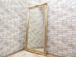 ヨーロピアン クラシック スタイル アンティーク調 全身鏡 ゴールドカラー ウォールミラー スタイルミラー 大型鏡 エレガント ●