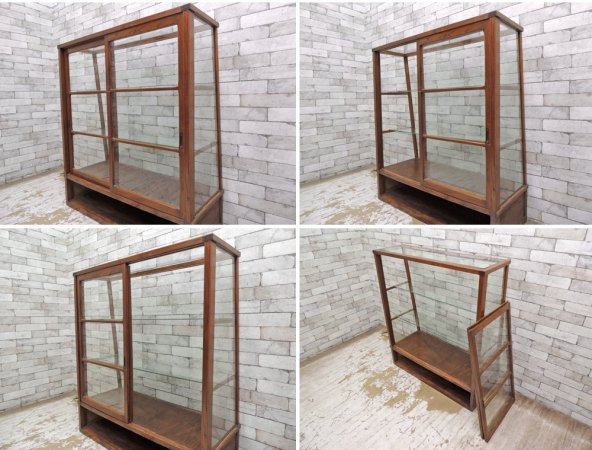 ビンテージ 古い木製 ショーケース ディスプレイケース パンケース 陳列棚 ゆらゆらガラス 店舗什器 ●
