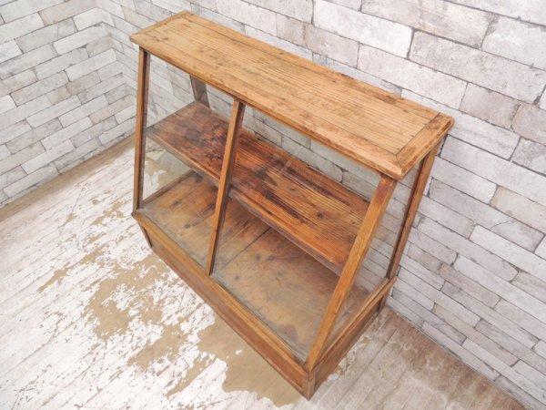 ビンテージ 古い木製 ショーケース ディスプレイケース 飾り棚 陳列棚 引出し収納付き ●