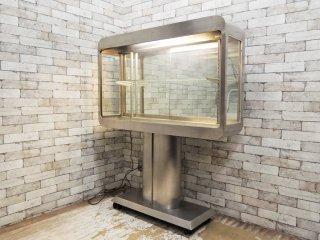 ビンテージ vintage ガラスショーケース ステンレス製 照明付き スペースエイジ 店舗什器 ●