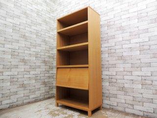 無印良品 MUJI 組み合わせて使える木製収納 本棚 シェルフ ミドルタイプ 奥行40cm タモ材 フラップ扉付 ●