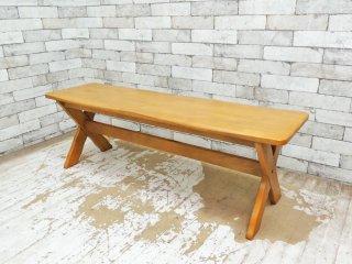 カリモク karimoku ルスティックシリーズ RUSTIC 木製 ベンチ ナチュラルカラー ●