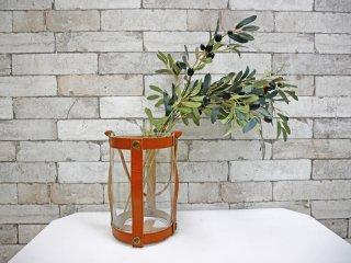 スカーガーデン skargaarden キャンドルランタン Candle lantern レザーストラップ ガラス 北欧 デンマーク キャメル ●