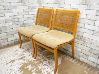 天童木工 TENDO ミラチェア 籐張り ブルーノ・マットソン Bruno Mathsson デザイン 2脚セット A ●