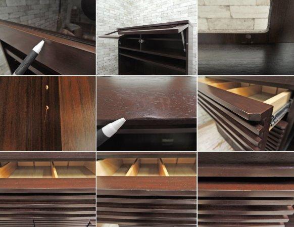エーフラット a-flat カップボード KB1200 UPPER 無垢材 スライドレール アジアン家具 ●