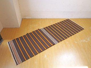 オールドキリム トルコ コンヤ地方 ラグ マット ボーダー 絨毯 ブラウン ランナーサイズ 234×55cm ★