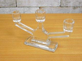 エイチピーデコ H.P.DECO 取扱い ビンテージ ガラス キャンドルスタンド 燭台 3灯 ●
