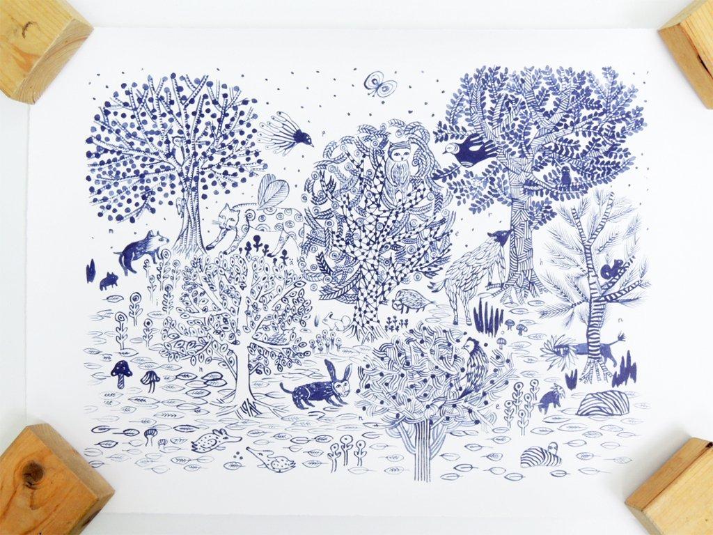 ミナペルホネン minaperhonen イマジン imagine ポスター 筒箱付き 和紙 ●