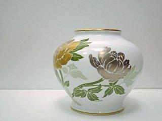 大倉陶園 OKURA 金銀彩牡丹 花瓶 フラワーベース 花器 壺 白磁 ●