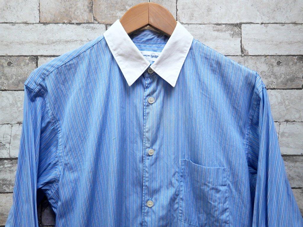 コムデギャルソンシャツ COMMEdesGARCONS SHIRT 長袖シャツ クレリックシャツ ブルーストライプ × ホワイト ●