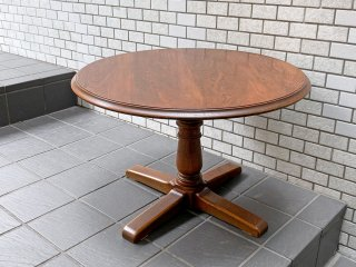 三越ブルージュ Brugge ラウンドテーブル 英国カントリー バルボスレッグ ナラ無垢材 ■