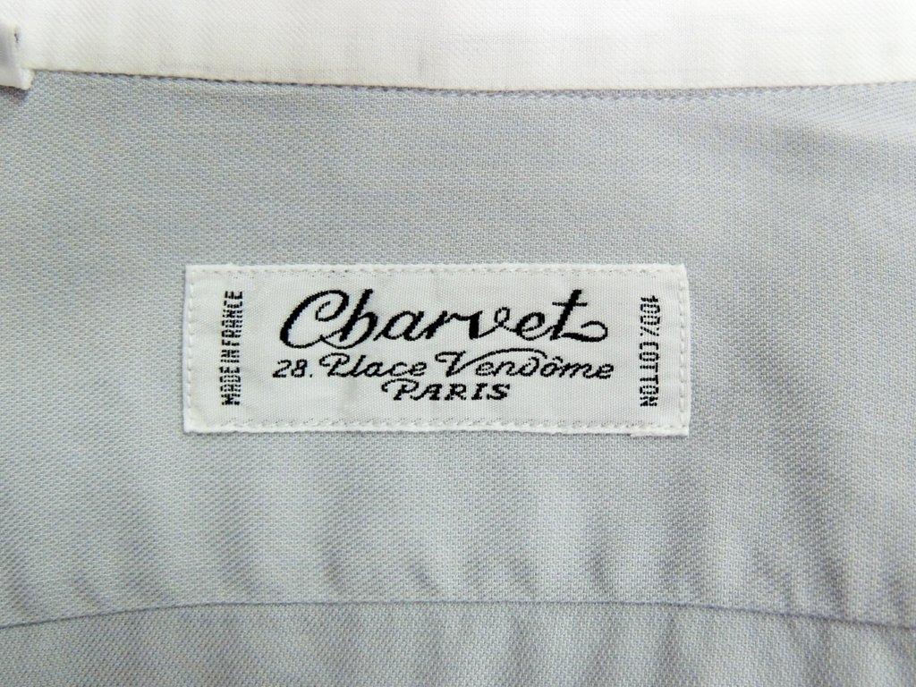 シャルベ Charvet 長袖シャツ クレリックシャツ グレー × ホワイト フランス製 ●
