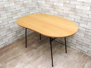 リメイク品 柏木工 KASHIWA 侭シリーズ 天板 × アイアンレッグ ダイニングテーブル ビーンズ型 ●