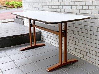カリモク60+ karimoku カフェテーブル ホワイト メラミン天板 棚板付き ミッドセンチュリーモダン ■