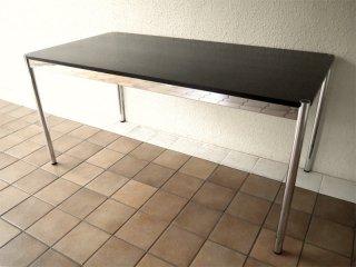 ユーエスエムハラーシステム USM Haller テーブル W150×D75 オーク材 ・ 黒 定価¥144,320- デスク オフィス家具 MoMA 店舗什器 スイス製 ◇
