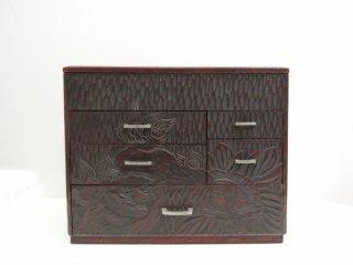 鎌倉彫 民芸家具 裁縫箱 小引き出し ミニチェスト 漆  ●