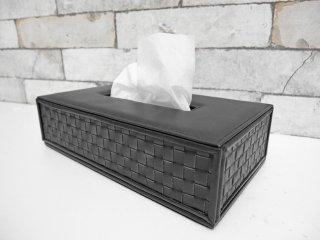 カッシーナイクスシー Cassina IXC. オリジナル ティッシュボックス Leather tissue box ブラック 牛革 モダンデザイン イタリア ●