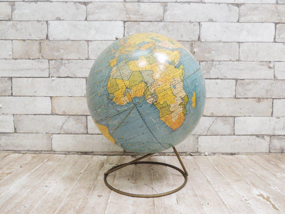 米国地球儀メーカー George F. Cram Co. 地球儀 Scholastic World Globe 12inch USビンテージ ●