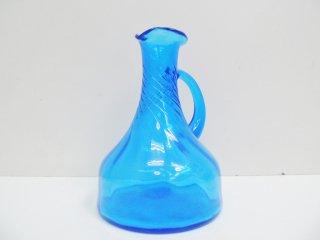 USビンテージ ガラス フラワーベース ピッチャー ブルー H.P.DECO 取扱 ●