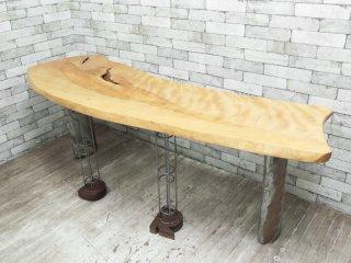 BC工房 無垢材 一枚板 ダイニングテーブル カウンターテーブル アルファベット脚 オーダー家具 店舗什器 ●